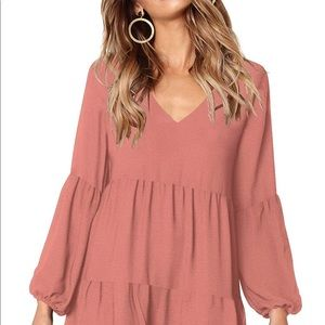 0208 Womens Casual Loose Short Sleeve V Neck Solid